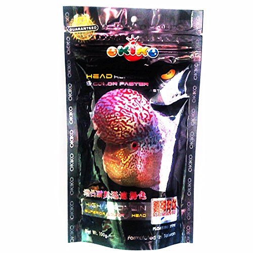 - Okiko 3.5 oz (100g) Platinum Head Huncher & Color Faster Floating Pellets with Astaxanthin Plus Flowerhorn Cichlid Fish Food
