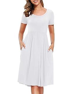 Life Palaza Womens T Shirt Dress Lace Sleeveless Plain Tunic Tops Blouse Loose Swing Dress