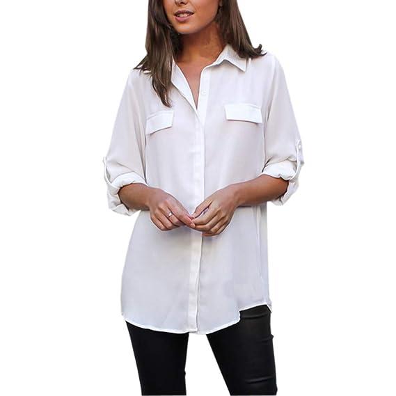 Luckycat Las Mujeres Forman el botón de Manga Larga sólido Flojo Ocasional Blusa Tops (Blanco