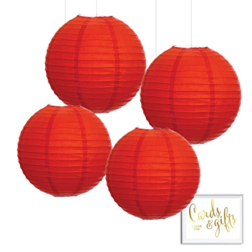 Andaz Press Hanging Paper Lantern Party Decor Kit with Free Party Sign, Red, 4-Pack, Colored Wedding 1st Birthday Classroom Supplies Decorations