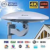 Amplified HDTV Antenna Outdoor/Indoor with Built-in 4G LTE Filter, Omni-Directional Reception, 65 Mile