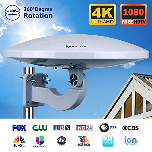 Amplified HDTV Antenna Outdoor/Indoor with Built-in 4G LTE Filter, Omni-Directional Reception, 65 Mile Long Range for 1080P 4K Free TV Channels,Attic/RV/Roof/Wall/Marine TV Antenna for VHF/UHF.