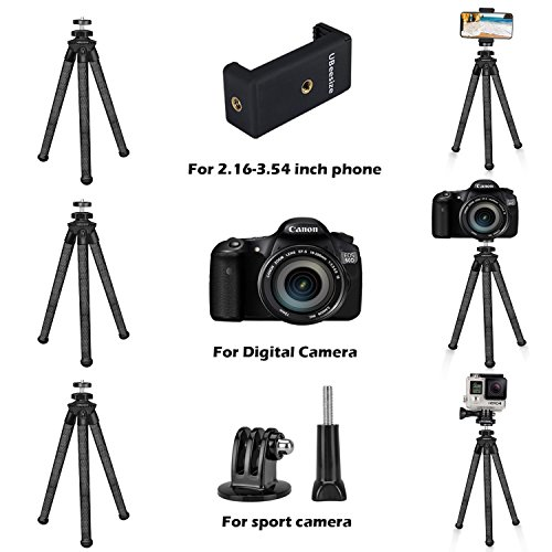 Flexible Camera Tripod, UBeesize 12 inch Mini Tripod Stand GoPro/Action Cam/DSLR Canon Nikon Sony, Smartphone Tripod Stand Cell Phone Holder, Compatible iPhone/Android (3 in 1) - Waterproof by UBeesize (Image #2)