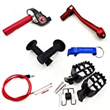TC-Motor Aluminum Throttle + Handle Grips + Throttle Cable + 11mm Gear Shifter Lever + Footpegs For Pit Dirt Bike Motorcycle