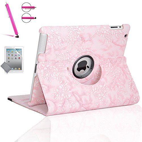 - Zeox iPad Air 2 Case - 360 Degree Rotating Stand Case with Smart Cover Auto Sleep / Wake Feature for Apple iPad Air 2 (iPad 6) 2014 Model with Screen Protector Cover and Stylus Pen, Flower Pink