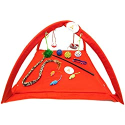 "Everlast Pet Toys | Best Playtent & Toy Bundle PLUS for Cats | 22"" x 23"" x 13"" Foldable Play Tent 