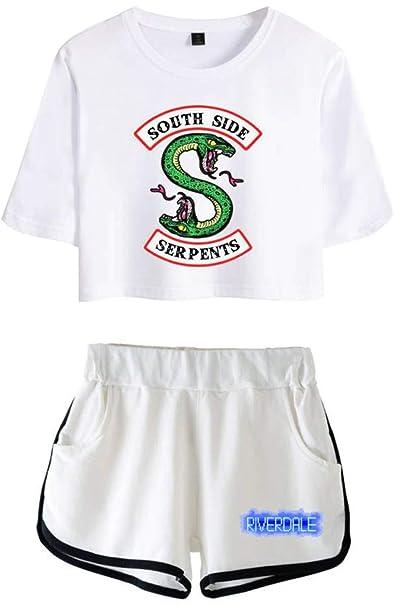OLIPHEE Chándales de Verano Impresa Serpiente de Riverdale Camisa y Pantalones  Cortos para Niña  Amazon.es  Ropa y accesorios 8ebd48ba643c