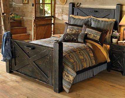 Amazon.com: Black Distressed Barn Door Bed - Queen: Kitchen & Dining