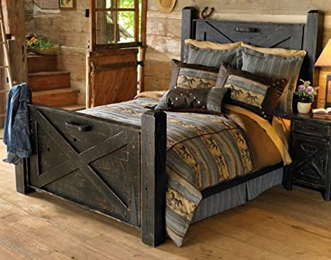 Amazon Black Distressed Barn Door Bed Queen Kitchen Dining