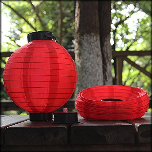 Horeset 2pcs Solar Powered Waterproof Chinese Hanging LED Light Nylon Fabric Lanterns for Outdoor Lawn Garden Patios,Backyards, Christmas, Weddings and Landscape Décor