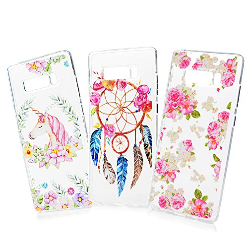 - Galaxy Note 8 Case, Big Deals 3 Pcs Crystal Clear 3D Emboss Printed Painting Pattern Soft Flexible TPU Silicone Rubber Slim Fit Thin Anti-Slip Grip Shockproof Skin Shell for Samsung Galaxy Note 8