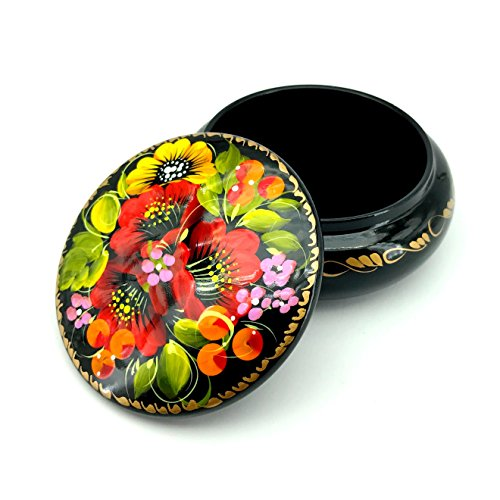 UACreations Small Round Jewelry Box for Earrings, Necklace, Rings, Hand Painted Lacquer Wooden Case with Ethnic Floral Pattern on Black for Girls and Women Black Round Jewelry Box