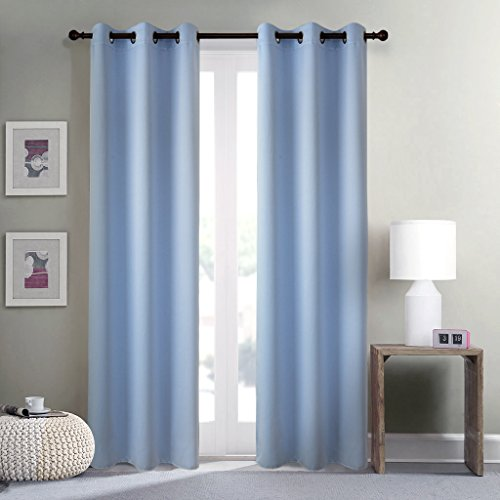 GIAERD Home Decor Noise Reducing Curtains,Three Pass Microfiber Solid Ring Top Drapes for Sliding Glass Door(2 Panels,42 X 84 Inch,Blue)