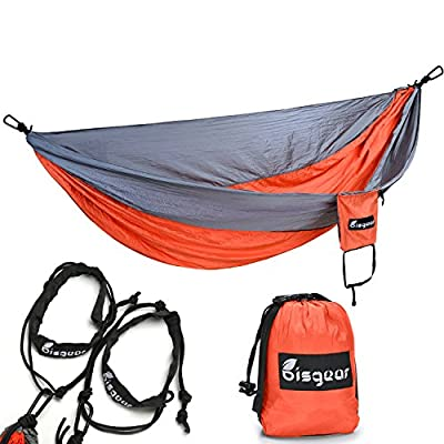 #1 Premium Outdoor Camping Hammock - Bisgear Lightweight Parachute Portable Travel Bed Pro Hammock for Hiking , Backpacking , Beach & Yard with Electrophoresis Carabiners - Nylon Tree Straps