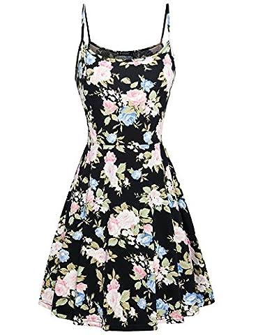 Cute Dresses for Women,FANSIC Summer Dress Girls Cute Flare Floral Printed Sleeveless Mini Dress X-Large - Flare Mini Dress