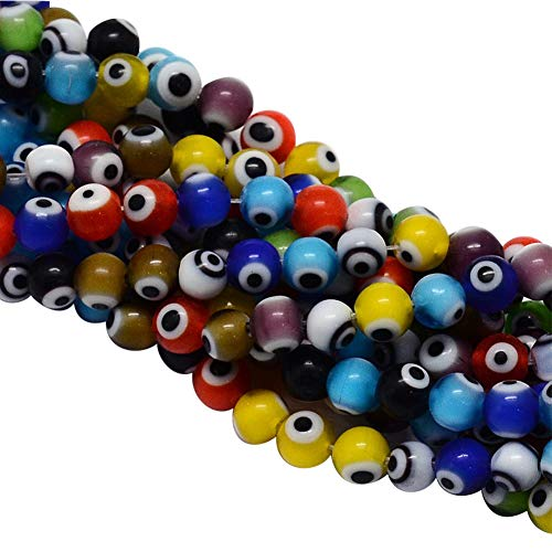 (NBEADS 1 Strand (About 100pcs/strand) 4mm Random Mixed Color Handmade Evil Eye Lampwork Beads Round Glass Beads for Bracelet Jewelry Making)
