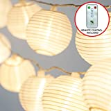 Frux Home and Yard 24 White Lanterns - Indoor Outdoor Mini Nylon LED String Lights Extra Long 16ft With Remote Control - Extendable - Connect up to 3 Sets - Bonus Hanging Hooks & Remote Control by Frux Home and Yard