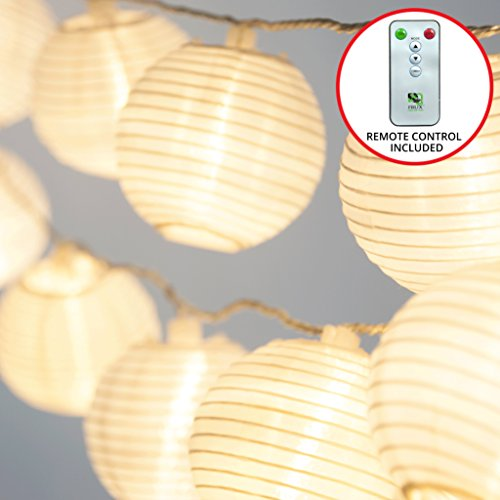 White Paper String Lights - Frux Home and Yard 24 White Lanterns - Indoor Outdoor Mini Nylon LED String Lights Extra Long 16ft With Remote Control - Extendable - Connect up to 3 Sets - Bonus Hanging Hooks & Remote Control by Frux Home and Yard