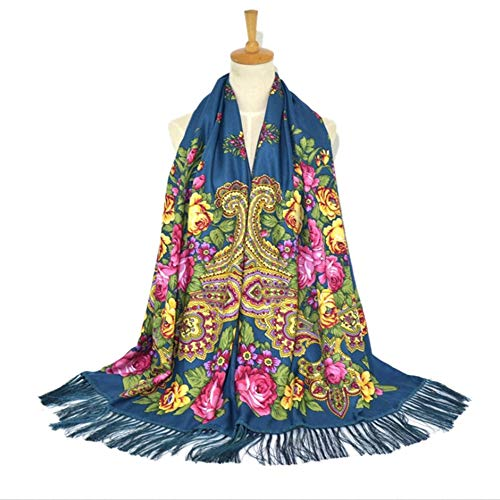 MJ-Young Women Cotton Printed Scarf Autumn Winter Floral Tassel Pashmina Shawl Female Wraps Scarves haqing 200cmX70cm