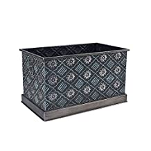 Household Essentials Chelsea Decorative Metal Storage Box, Large, black Floral
