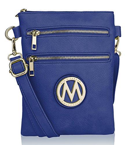 Collection Crossbody Purse Royal Handbag Blue Shoulder Woman's Messenger Multi MKF Zipper Pocketbook ACqdwAI