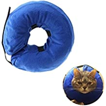 Inflatable Recovery Collar for Dogs and Cats-Comfortable Soft Pet E-Collar Does Not Block Vision Medical Postoperative Wound Healing Cone Blue