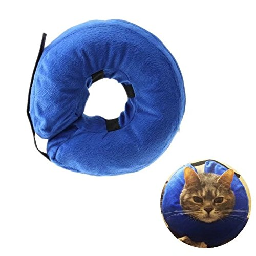 - Inflatable Recovery Collar for Dogs and Cats-Comfortable Soft Pet E-Collar Does Not Block Vision Medical Postoperative Wound Healing Cone Blue