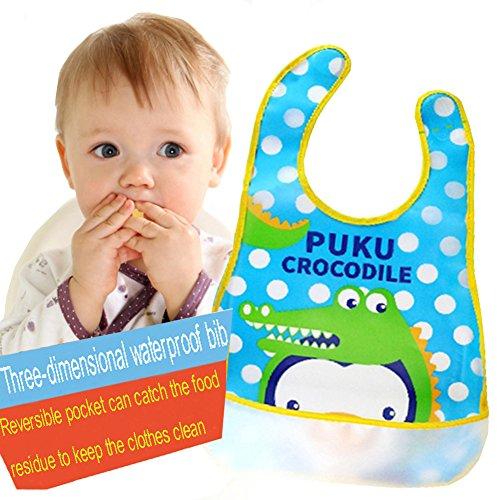 ZEAMO Baby Bibs Waterproof Feeding Bib Foldable Travel Baby Bibs with Wide Catcher Pocket 4 Pack (Colorful)