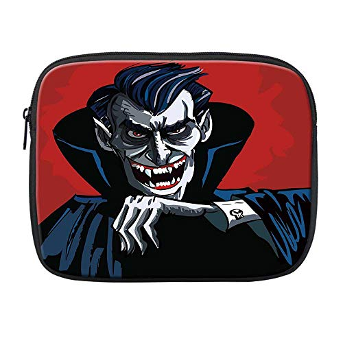 Vampire Compatible with Nice iPad Bag,Cartoon Cruel Old Man with Cape Sharp Teeth Evil Creepy Smile Halloween Theme for Office,One Size
