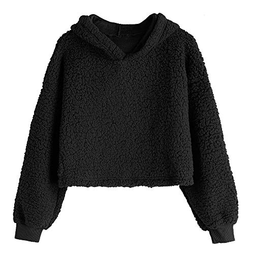 3a4ccd04f1 ZAFUL Women s Drop Shoulder Fluffy Boxy Hooded Pullover Fuzzy Crop Hoodies