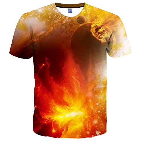 Hgvoetty Unisex Graphic Tees for Men Women 3D Print Space Juniors Shirt S