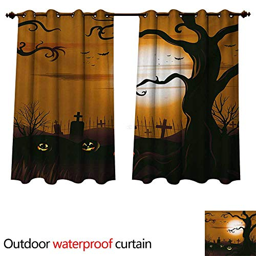 WilliamsDecor Halloween 0utdoor Curtains for Patio Waterproof Leafless Creepy Tree with Twiggy Branches at Night in Cemetery Graphic Drawing W120 x L72(305cm x 183cm)