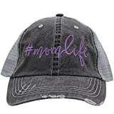Mom Life Embroidered Trucker Style baseball Cap Hat (Purple/Emb)