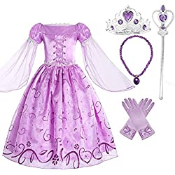 Romy's Collection Girls Rapunzel Deluxe Princess Dress Costume (5-6)