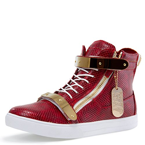 Jump J75 Men's Zion Round Toe Rhinestone Strap Lace-Up High-Top Sneaker Red Combo MJ2ap6mgj