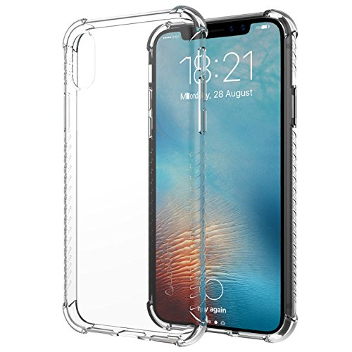 Luvvitt Clear Grip Case with Air Pocket Reinforced Corners for iPhone X 10 (2017) - Transparent - Transparent Black