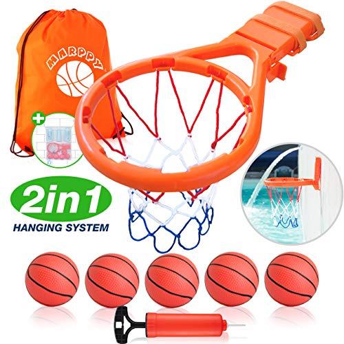 Bath Toy Basketball Hoop for Kids + 5 Upgraded Balls - Bathtub Basketball Hoop for Boys & Girls - Indoor Fun Games & Improve Motor Skills - 2IN1 Hanging System - B0NUS Bath Toy Organizer - GREAT GlFT (Little Girl Basketball)