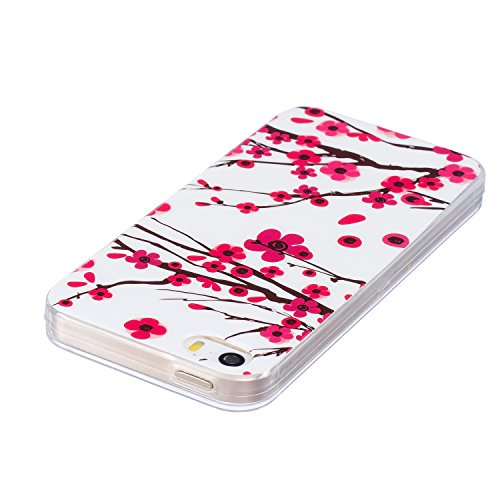 Custodia iPhone 5 5S SE , LH Fiore Plum Fluorescenza Silicone Morbido TPU Case Cover Custodie per Apple iPhone 5 5S SE