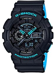 Mens Casio G-Shock Anti-Magnetic Black and Neon Blue Resin Watch GA110LN-1A