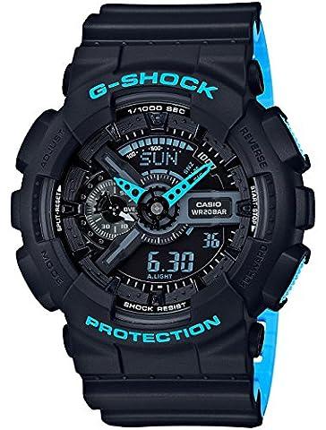 Men's Casio G-Shock Anti-Magnetic Black and Neon Blue Resin Watch GA110LN-1A (Blue G Shock Men)