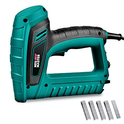 - Electric Brad Nailer, NEU MASTER Staple Gun N6033 with Contact Safety and Power Adjustable Knob for Upholstery and Home Improvement, Includes 400pcs Staples and 100pcs Nails