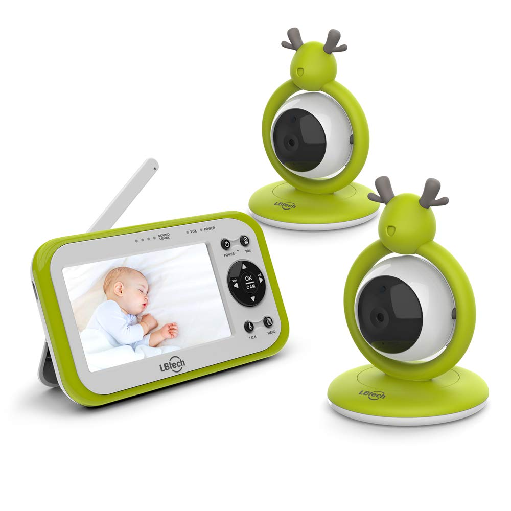 LBtechVideo Baby Monitor with Two Digital Cameras,4.3''LCD Display,Automatic Night Vision,Two-Way Talkback,Temperature Detection,Power Saving/Vox,Zoom in Lens,Support Multi-Camera