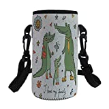 iPrint Small Water Bottle Sleeve Neoprene Bottle Cover,Cute Hand Drawn Alligators Natural Background Fun,fit for Stainless Steel/Plastic/Glass Bottles
