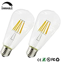 Dayker ST64 Dimmable LED Filament Bulbs 6W Medium Base E26/E27 Edison Lamp Light Soft White 3000K Equivalent to 55W Incandescent Bulbs(2 Pack)