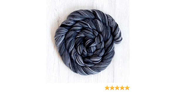 Wolf Color 100g Extra Fine Merino Wool Tops Roving Grey Color for Wet Felting Nuno Felting Spinning