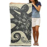 Yisliferunaz Wood Nautical Ocean Octopus Art Beach Towels Luxurious 100% Polyester Travel Bath Sheets Large Towel for Beach Blanket Cover Tent Floor Yoga Mat 31.5'' X 51.2'',Natural Soft Quick Dry