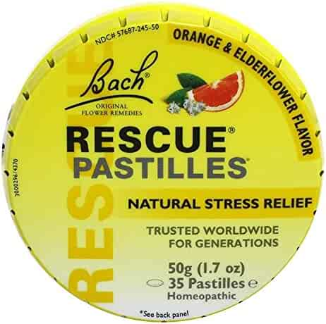 Bach Rescue Pastilles Natural Stress Relief, Original Orange & Elderflower, 1.7 oz (Packaging May Vary)