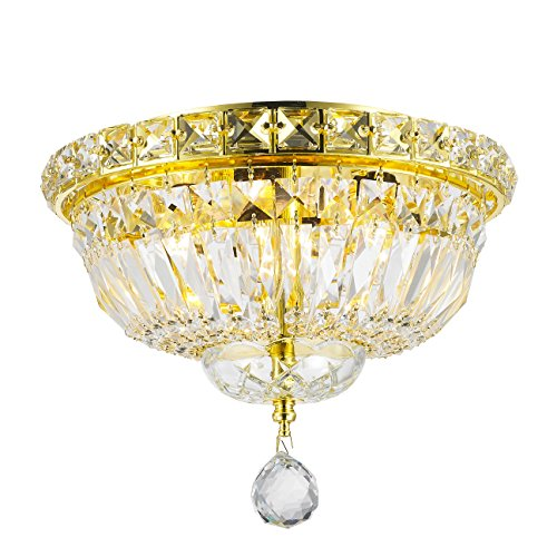 Worldwide Lighting Empire Collection 4 Light Gold Finish and Clear Crystal Flush Mount Ceiling Light 10