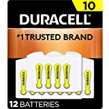 Duracell - Hearing Aid Batteries Size 10 (Yellow) - long lasting battery with EasyTab for ease of installation - 12 count