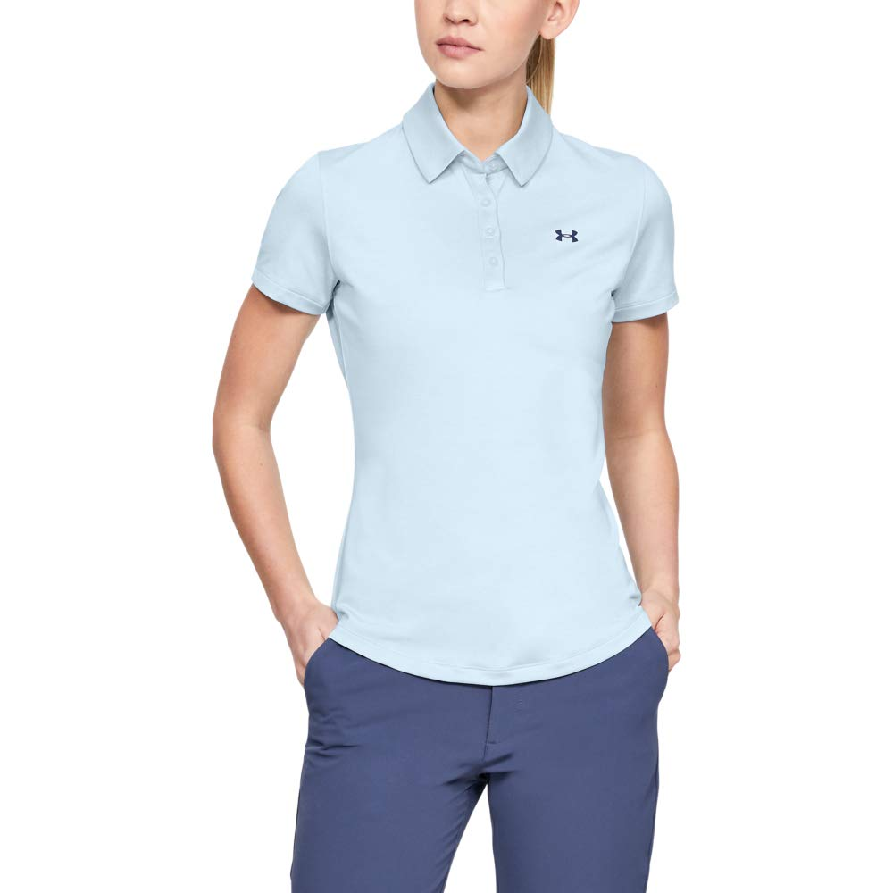 Under Armour Womens Zinger Short Sleeve Golf Polo, Moonstone Blue (460)/Downpour Gray, X-Small